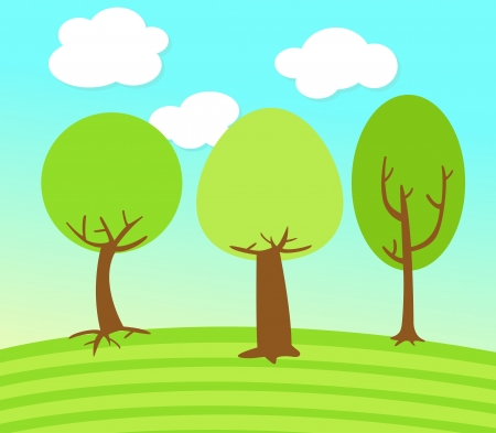 Tree Landscape  Vector illustration  on white background Vector