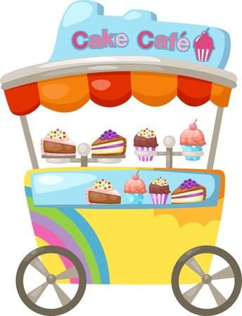 bancarella: carrello di stallo e un cupcake Vector illustration su sfondo bianco Vettoriali
