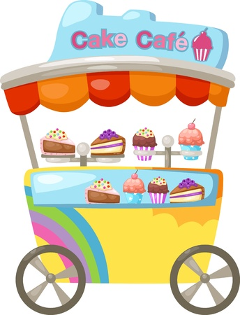 colourful candy: cart stall and a cupcake   Vector illustration  on white background