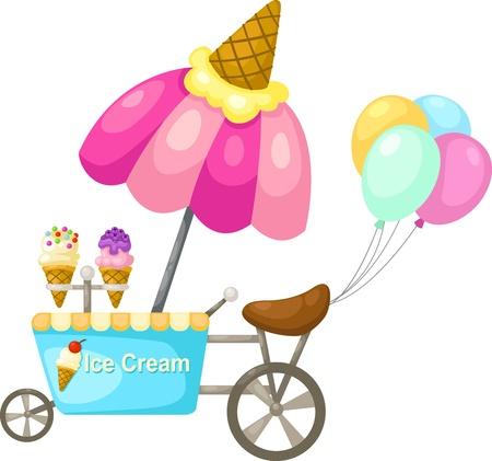 carretto gelati: carrello di stallo e un gelato Illustrazione vettoriale su sfondo bianco