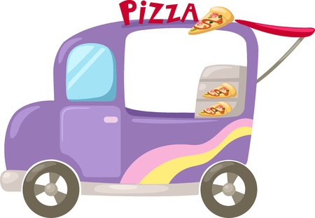 food supply:  Italian pizza delivery car   Vector illustration  on white background Illustration