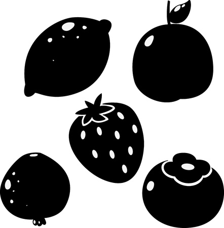 black lemon ,Peach, Persimmon, Pomegranate fruit ,Strawberry  Vector illustration Stock Vector - 17623579