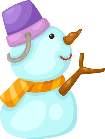 Vector illustration de bonhomme de neige sur fond blanc