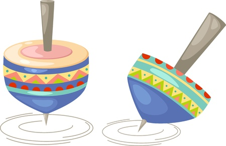 perinola: Ilustraci�n de un Humming-top, whirligig en un fondo blanco
