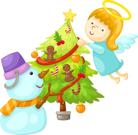 angel tree: snowman with angel tree christmas  Vector illustration  on white background