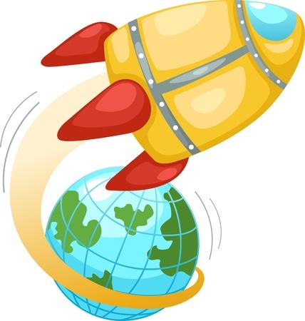 science fiction: Raket en aarde wereldbol Vector illustratie op witte achtergrond