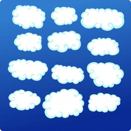 illustration Clouds Set  Vector