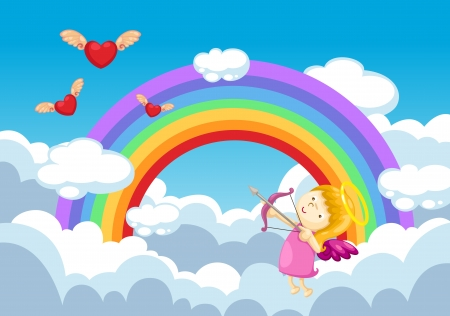 cupid in the clouds background   Vector