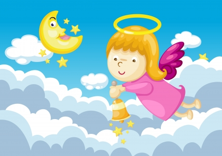 angel in sky background  Vector