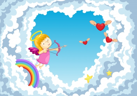 cupid in the clouds background   Stock Vector - 17848367