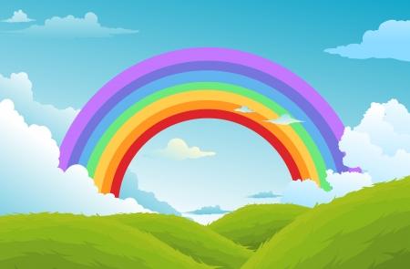 arcoiris caricatura: arco iris y las nubes en el cielo de fondo