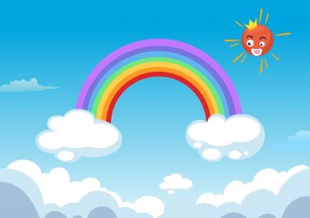 ciel: arc en ciel et le soleil dans les nuages Illustration