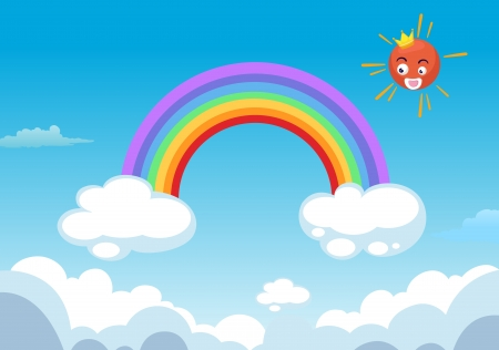 cloudy day: rainbow and sun in clouds Illustration