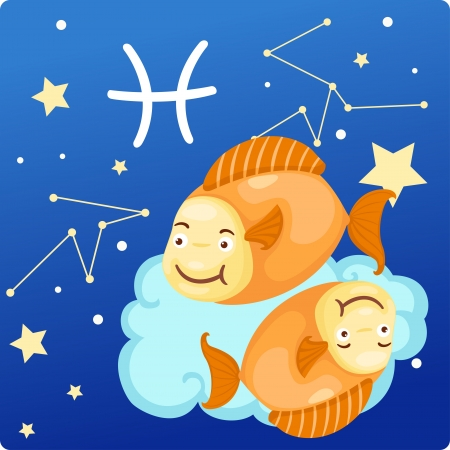 2 months: Zodiac signs - Pisces Illustration