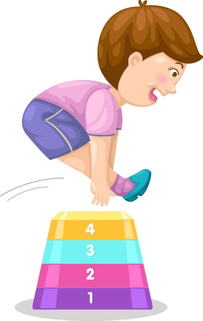 Illustration of a boy jumping hurdle vector Vector