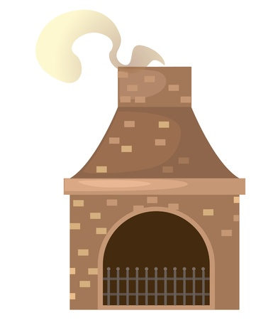 fireplace home: house brick chimney  vector Illustration