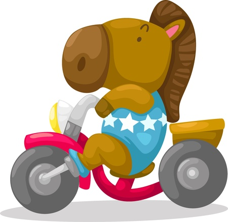 Horse on motorcycle vector Vector