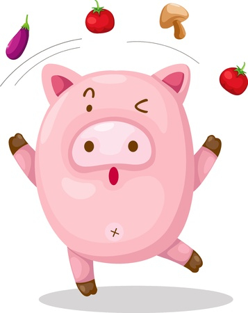 vegetable fat: pig  vector Illustration