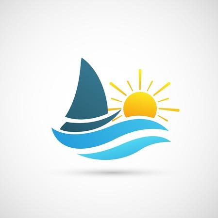 fishing boat: 요트 아이콘 일러스트