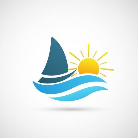 yacht race: Yacht Icono Vectores