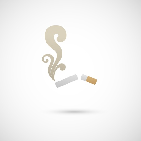 cigarette: Cigarette and smoke icon  Illustration