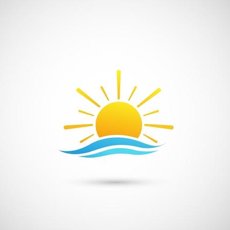 zonsondergang en de zee golven Vector Illustratie