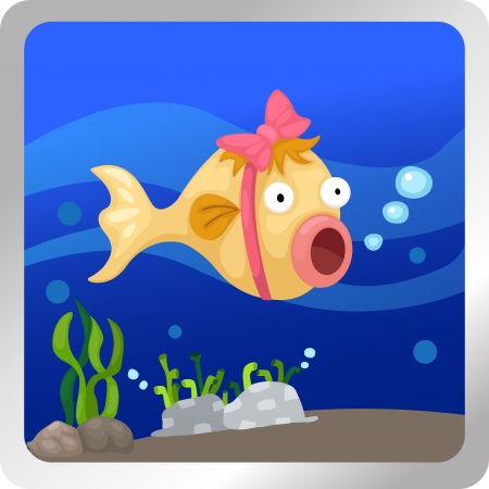 Illustration of a fish underwater background Stock Vector - 18870650