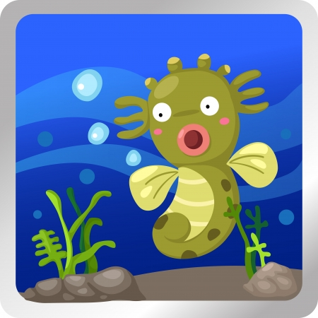 sea horse: illustration of a sea horse underwater background