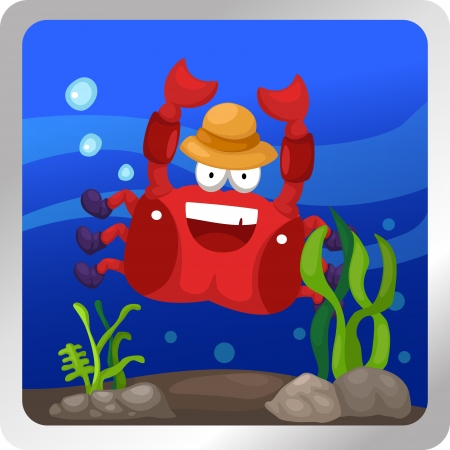 cancer crab: illustration of a crab underwater background