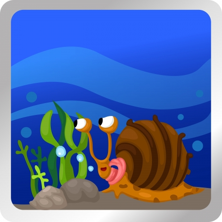 Illustration of a snail underwater background  Stock Vector - 18870635