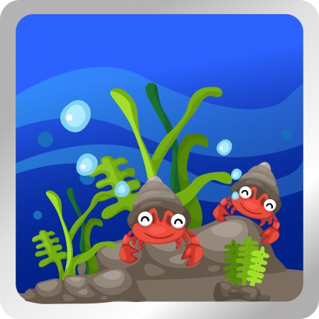 Illustration of a hermit crab underwater background Stock Vector - 18870656