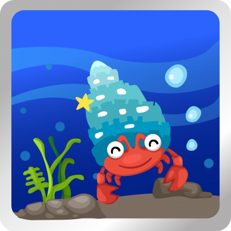Illustration of a hermit crab underwater background Vector