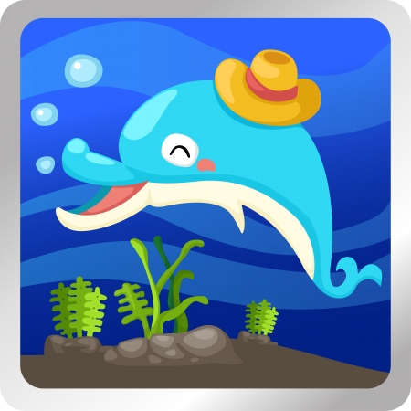 Illustration of an isolated dolphin underwater background  Stock Vector - 18870651