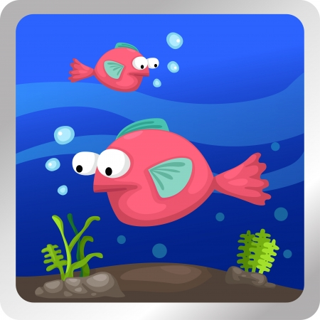 Illustration of a fish underwater background Stock Vector - 18870631
