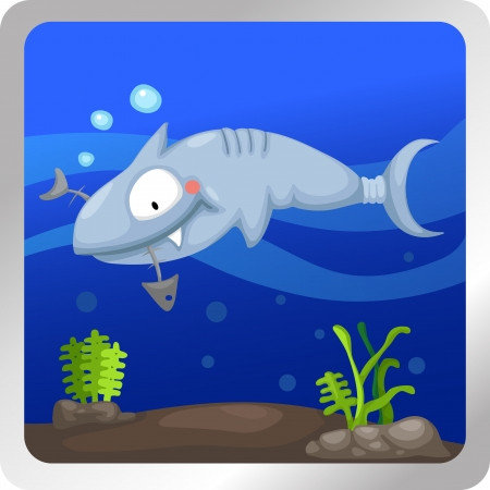 Illustration of a shark underwater background Vector