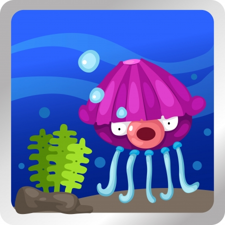 illustration of a Jellyfish underwater background Stock Vector - 18870787