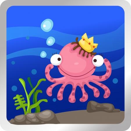 cartoon octopus: illustration of an octopus underwater background
