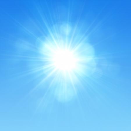 glaring: Blue sky with glaring sun
