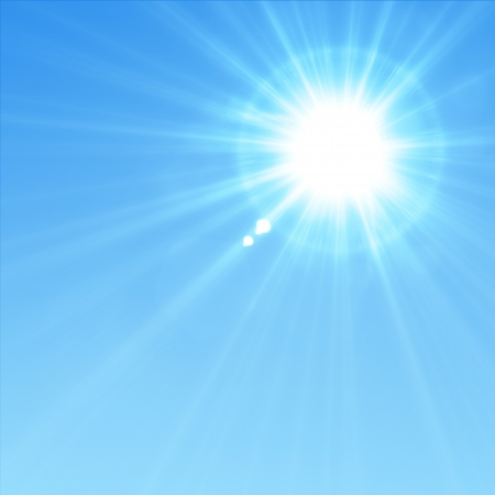 sun rays: Blue sky with glaring sun