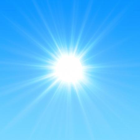 Blue sky with glaring sun Stock Photo