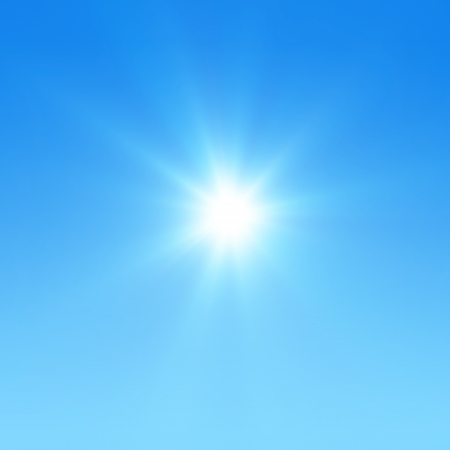 blue sky: Blue sky with glaring sun Stock Photo