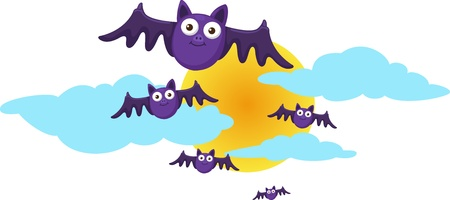 Halloween moon and bats Vector