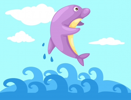 Illustration of a jumping dolphin Stock Vector - 19190176