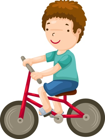 bicycle cartoon: young boy riding a bicycle
