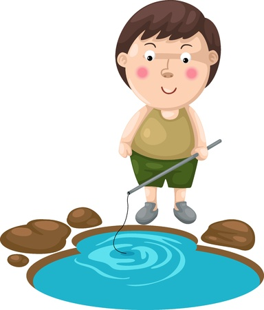 illustration of isolated boy fishing Vector