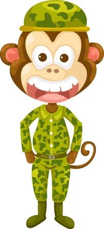 comandante: Illustrazione di scimmia esercito