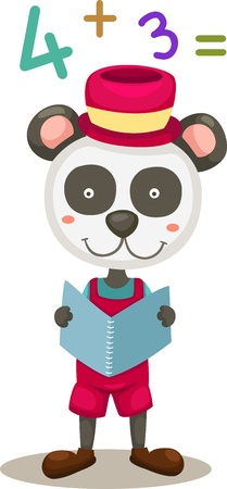 illustration of panda reading a book  Vector