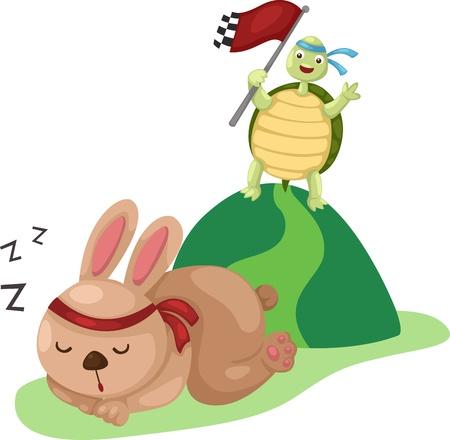 liebre: ilustración de tortuga y conejo que corre una carrera Vectores