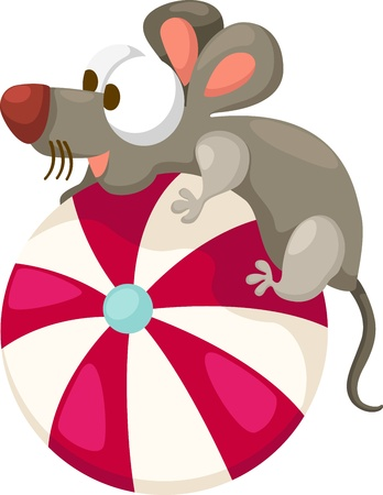 home run: illustration of isolated mouse with ball on white background