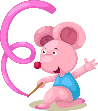 rhythmic gymnastic: Female gymnast mouse with ribbon